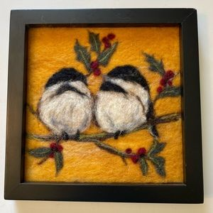 Felted chickadee on holly branch wall art 8x8 inch